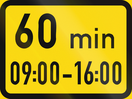 permitted: Temporary road sign used in the African country of Botswana - Parking is permitted within the hours specified, with a 60 minute limit. Stock Photo