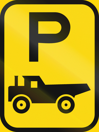 temporary: Temporary road sign used in the African country of Botswana - Parking for construction vehicles.