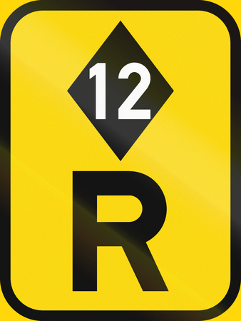 r regulation: Temporary road sign used in the African country of Botswana - Reservation for high-occupancy vehicles.