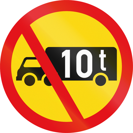 exceeding: Temporary road sign used in the African country of Botswana - Goods vehicles exceeding 10 tonnes prohibited. Stock Photo