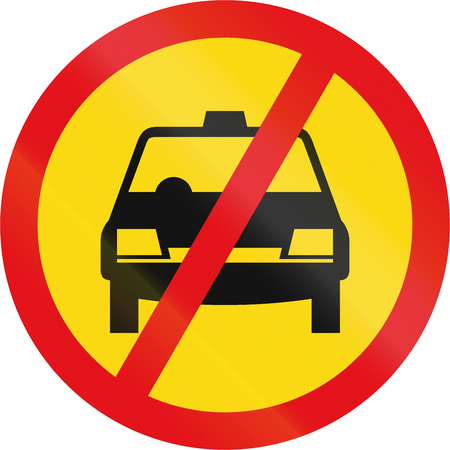 temporary: Temporary road sign used in the African country of Botswana - Taxis prohibited. Stock Photo