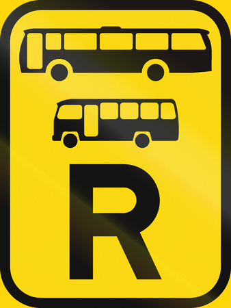 r transportation: Temporary road sign used in the African country of Botswana - Reservation for buses and midi-buses.