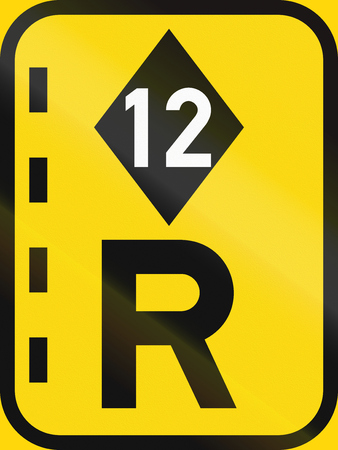 temporary: Temporary road sign used in the African country of Botswana - Reserved lane for high-occupancy vehicles.