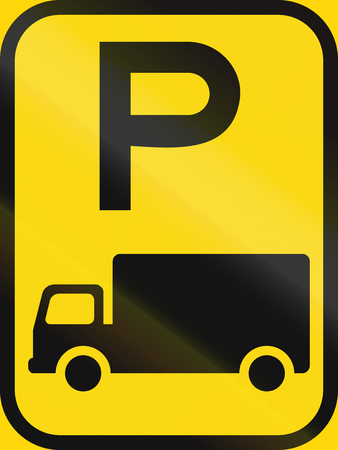 temporary: Temporary road sign used in the African country of Botswana - Parking for goods vehicles. Stock Photo