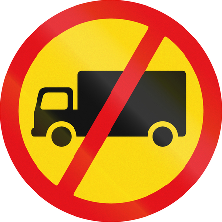 Temporary road sign used in the African country of Botswana - Goods vehicles prohibited.