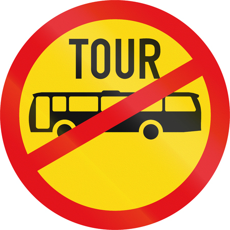 Temporary road sign used in the African country of Botswana - Tour buses prohibited. Stock Photo