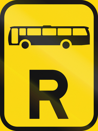 r regulation: Temporary road sign used in the African country of Botswana - Reservation for buses.