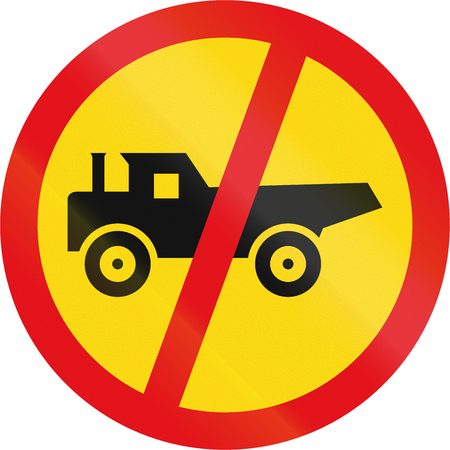 temporary: Temporary road sign used in the African country of Botswana - Construction vehicles prohibited. Stock Photo