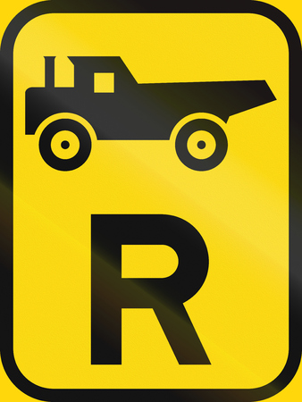 r image: Temporary road sign used in the African country of Botswana - Reservation for construction vehicles.