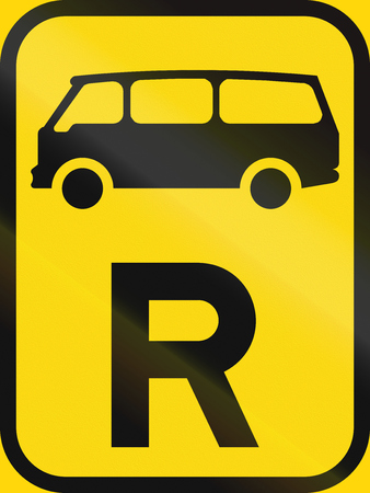 r transportation: Temporary road sign used in the African country of Botswana - Reservation for mini-buses. Stock Photo