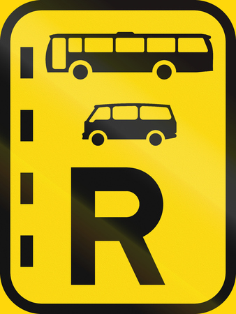 temporary: Temporary road sign used in the African country of Botswana - Reserved lane for buses and mini-buses. Stock Photo