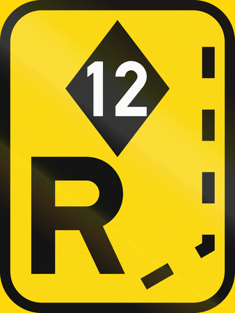 Temporary road sign used in the African country of Botswana - Start of a reserved lane for high-occupancy vehicles.