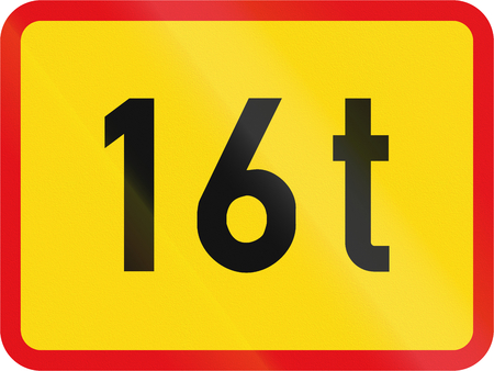 exceeding: Temporary road sign used in the African country of Botswana - The primary sign applies to vehicles exceeding 16 tonnes GVM.