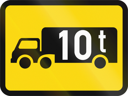 roadworks: Temporary road sign used in the African country of Botswana - The primary sign applies to goods vehicles exceeding 10 tonnes GVM. Stock Photo