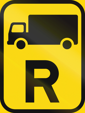 r regulation: Temporary road sign used in the African country of Botswana - Reservation for goods vehicles. Stock Photo