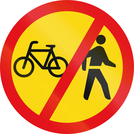 temporary: Temporary road sign used in the African country of Botswana - Cyclists and pedestrians prohibited.