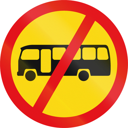 Temporary road sign used in the African country of Botswana - Midi-buses prohibited. Stock Photo