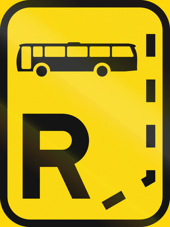 r transportation: Temporary road sign used in the African country of Botswana - Start of a reserved lane for buses.