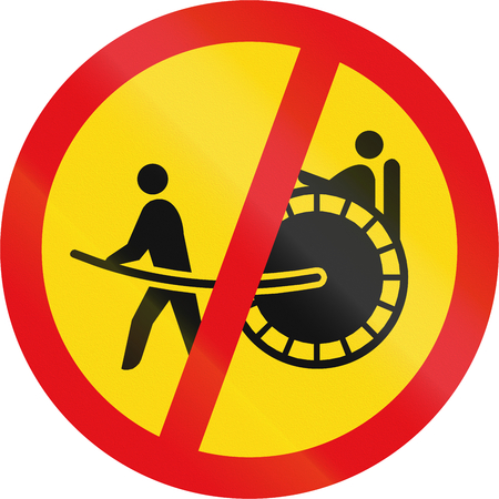 roadworks: Temporary road sign used in the African country of Botswana - Rickshaws prohibited. Stock Photo