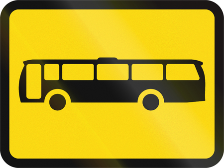 roadworks: Temporary road sign used in the African country of Botswana - The primary sign applies to buses. Stock Photo