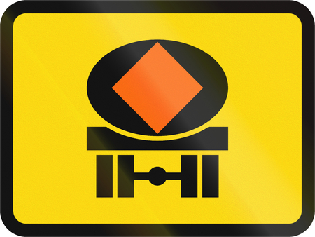 substances: Temporary road sign used in the African country of Botswana - The primary sign applies to vehicles transporting dangerous substances.