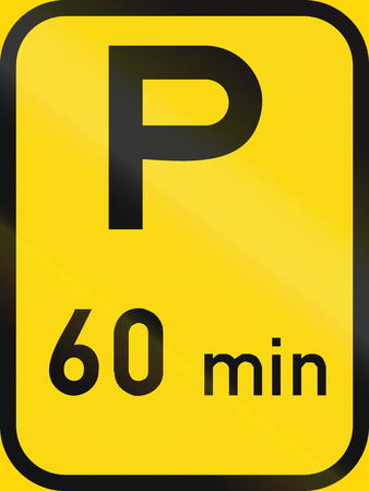 roadworks: Temporary road sign used in the African country of Botswana - Parking with a 60 minute limit.