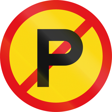 parking is prohibited: Temporary road sign used in the African country of Botswana - Parking prohibited. Stock Photo
