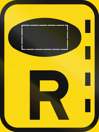 roadworks: Temporary road sign used in the African country of Botswana - Reserved lane for authorised vehicles.