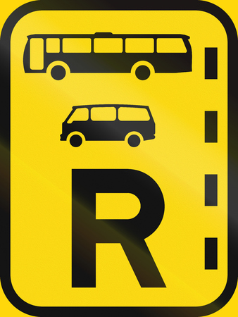 r regulation: Temporary road sign used in the African country of Botswana - Reserved lane for buses and mini-buses. Stock Photo