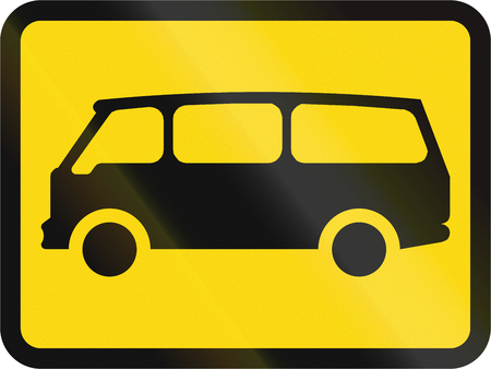 roadworks: Temporary road sign used in the African country of Botswana - The primary sign applies to mini-buses.