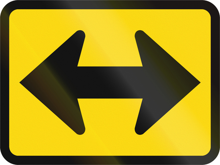 on temporary: Temporary road sign used in the African country of Botswana - The primary sign applies to the left and right.