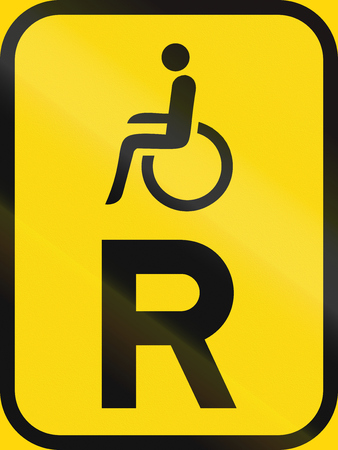 r regulation: Temporary road sign used in the African country of Botswana - Reservation for vehicles carrying disabled passengers. Stock Photo