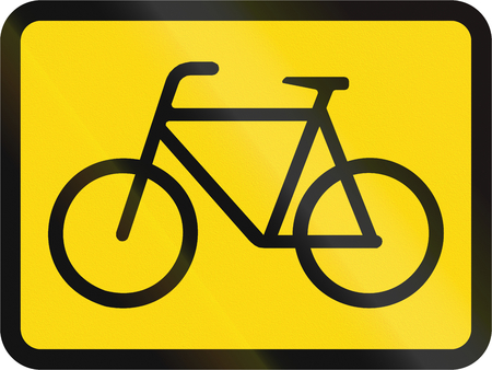 roadworks: Temporary road sign used in the African country of Botswana - The primary sign applies to cyclists. Stock Photo