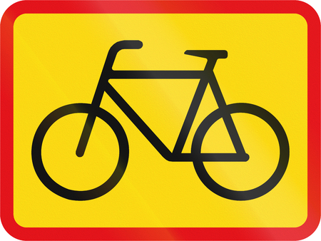 temporary: Temporary road sign used in the African country of Botswana - The primary sign applies to cyclists. Stock Photo