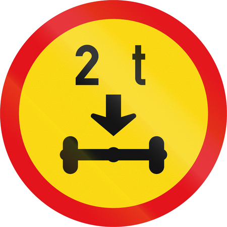 exceeding: Temporary road sign used in the African country of Botswana - Vehicles exceeding 2 tonnes on a single axle prohibited. Stock Photo