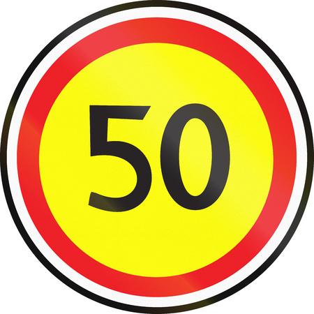 Belarusian regulatory road sign - Maximum speed limit.