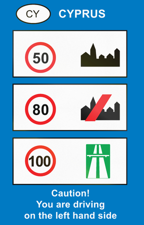 lefthand: Overview of speed limits used in Cyprus. Stock Photo