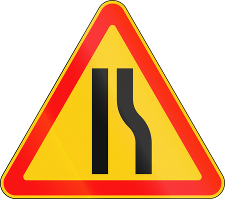 narrows: Warning road sign used in Belarus - road narrows on right. Stock Photo