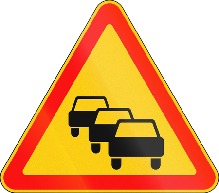 queuing: Warning road sign used in Belarus - Traffic queues likely. Stock Photo