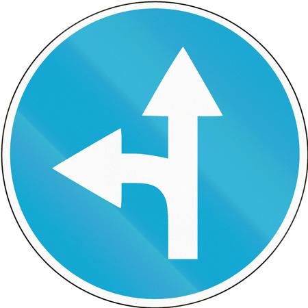 quadratic: Road sign used in Estonia - Straight or left ahead.