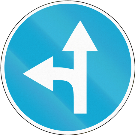 Road sign used in Estonia - Straight or left ahead.