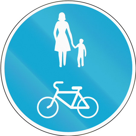 Road sign used in Estonia - Shared lane for pedestrians and cyclists.