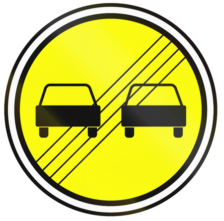 Belarusian regulatory road sign - End of no overtaking. Stock Photo