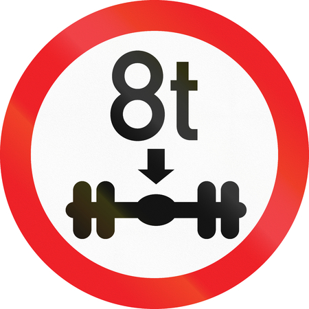 Road sign used in Cyprus - No vehicles having a weight exceeding 8 tonnes on one axle.