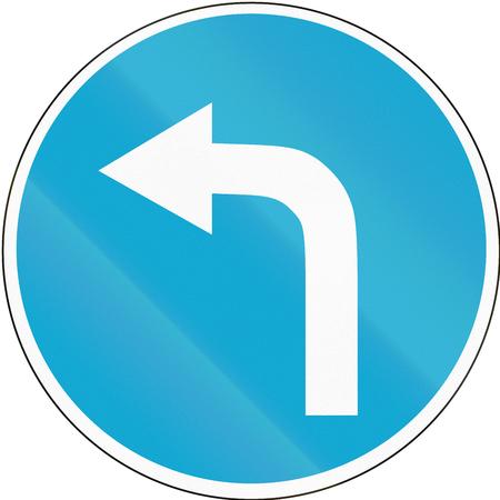 Road sign used in Estonia - Turn left ahead.