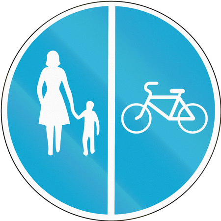 Road sign used in Estonia - Separate lanes for pedestrians and Cyclists.