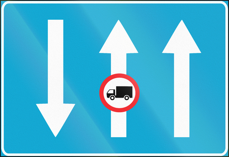 Estonian informational road sign - available lanes with opposing traffic.