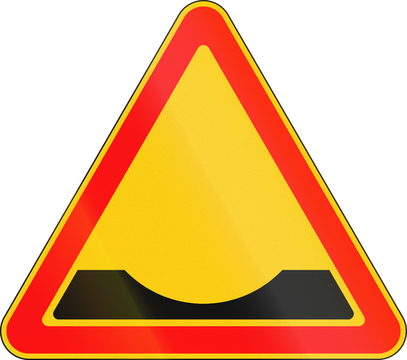 Warning road sign used in Belarus - Road ditch ahead. Stock Photo