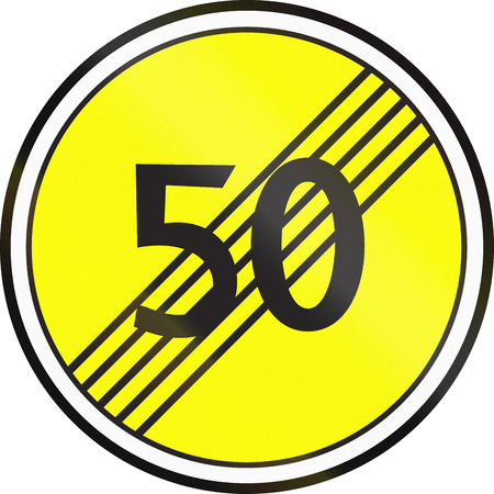 Belarusian regulatory road sign - End of maximum Speed limit. Stock Photo