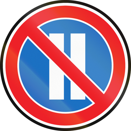 Road sign used in Belarus - No parking on even calendar days. Stock Photo